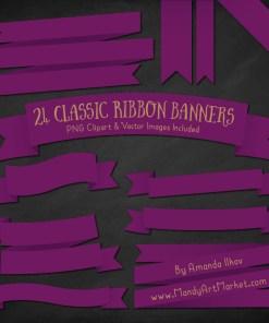 Plum Ribbon Banner Clipart