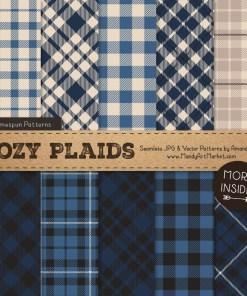 Navy Cozy Plaid Patterns