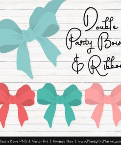Free Aqua & Coral Party Bow Clipart