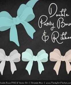 Free Aqua Party Bow Clipart