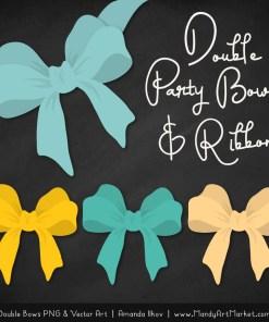 Free Aqua & Yellow Party Bow Clipart