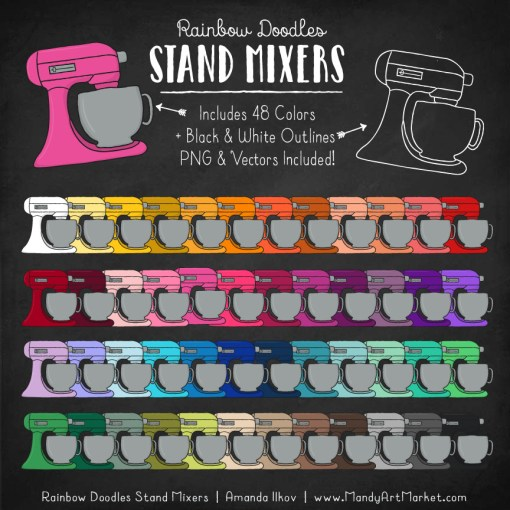 Rainbow Stand Mixer Clipart