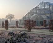 Wisley Glasshouse on a frosty winter's day