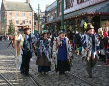 The guisers entertain the crowds at last year's Christmas launch parade. Picture; Beamish Museum