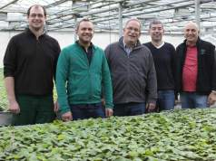 Markus Kobelt of Lubera (centre), Rupert Mayer (second from right), together with nursery managers and product developers. Picture; Lubera