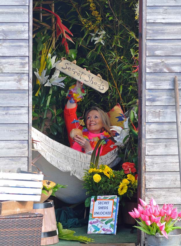Fiona Fisk (Floral Pavilion Co-ordinator) puts her feet up in a mini tropical paradise. Picture; Harrogate Flower Shows