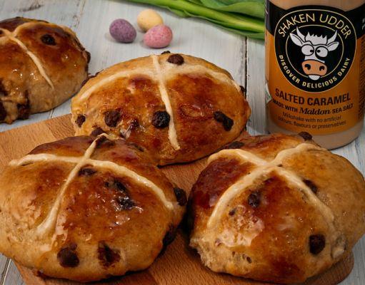 Salted caramel hot cross buns. Picture; Shaken Udder