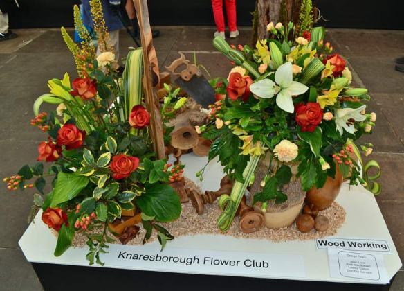 Knaresborough Floral Club's exhibit on woodwork