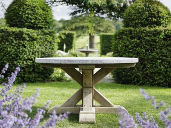 Jonas Breakfast Table in Aged Oak with Belgian Bluestone Top. Picture; Oxenwood