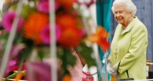 HM The Queen admiring floral displays in the Great Pavilion. Picture; RHS/Luke MacGregor