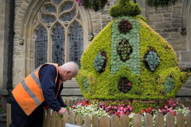 Bishop's mitre in Durham Market Place. Picture; RHS/Mark Pinder