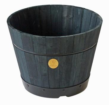 46cm wooden barrel kit in charcoal grey. Picture; VegTrug