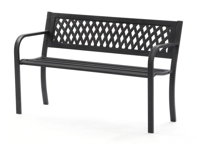 Black Metal Garden Bench 2 Seater Lattice Back. Picture; Sue Ryder
