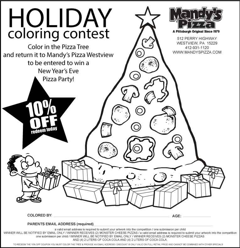christmas tree coloring contest pittsburghs award winning pizza