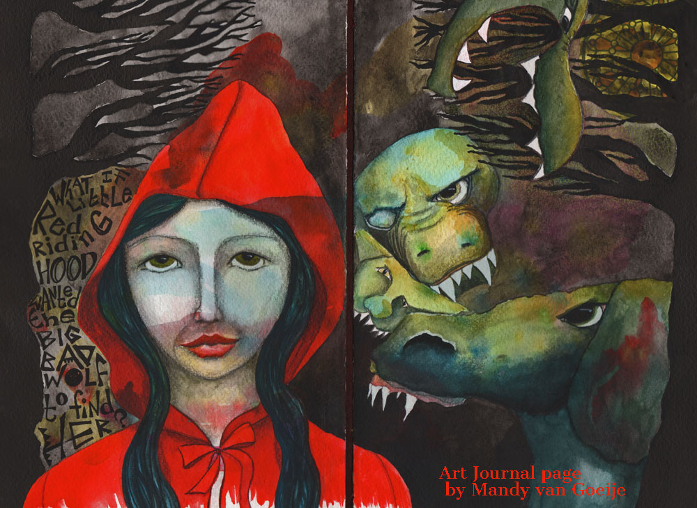 little red riding hood art journal page