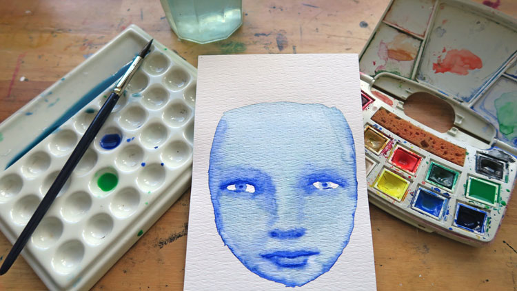 cool watercolor face and watercolor art supplies in intuitive online watercolor workshop by mandy van goeije