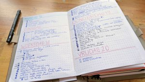 filofax turned into a travelers journal by mandy van goeije - open with daily to do lists