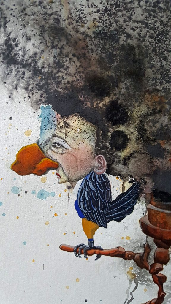 Seeding - watercolor mixed media painting by Mandy van Goeije