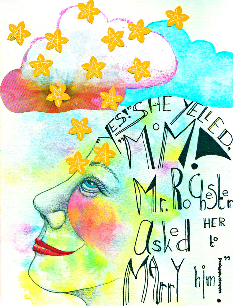 Art journal page by Mandy van Goeije of the discovery of Jane Eyre by her daughter
