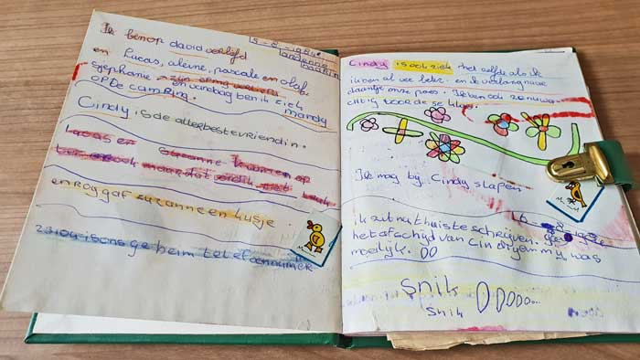 First pages in Mandy van Goeije's first diary from 1984