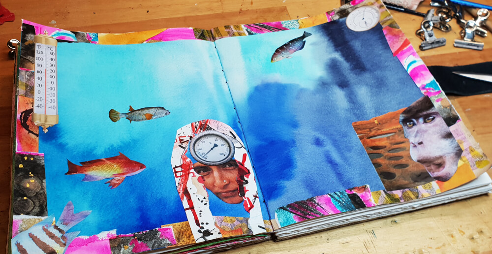 Fish - stage 3 - composition - Art Journal page by Mandy van Goeije: