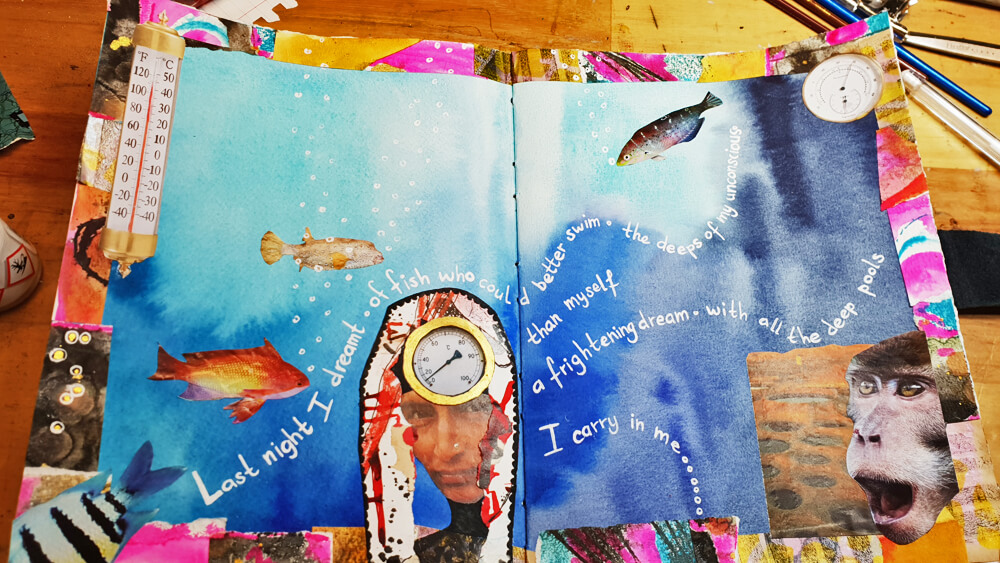 Fish - stage 4 - adding words- Art Journal page by Mandy van Goeije: