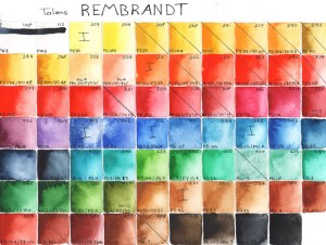 Color chart Rembrandt Watercolors, old collection by Mandy van Goeije