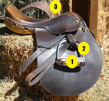Parts of saddle quiz - English saddle on hay numbered - Mane-U