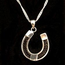 Horseshoe Pendant, horsehair jewellery