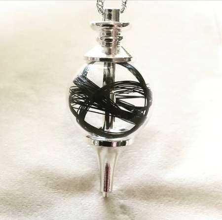 Silver Orb Horsehair Pendant