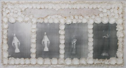 Untitled (Three - Four Apparitions), 2004, photocopy and cut out paper on board, cm 94x49