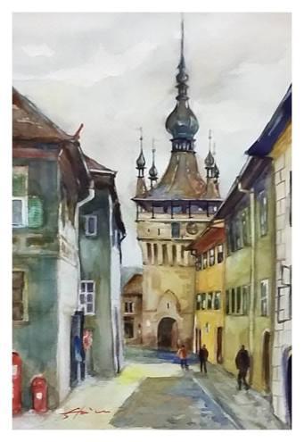 Paul_Stoica_Sighisoara-medievala-acuarela2