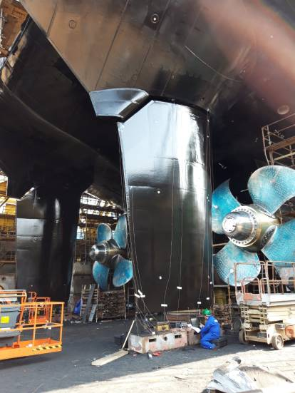 Full-spade rudders by Damen Marine Components for ASRV Nuyina