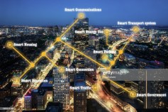 Boston Smart city and IoT (Internet of Things) concept. ICT (Information Communication Technology) in USA.