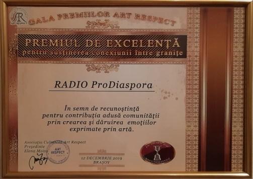 Radio ProDiaspora - Premiul de Excelență Brașov2019a
