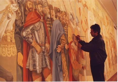 In anul 1994 lucram la finalizarea picturii murale de 14 x 4 m din holul de onoare al cladirii Ministerului Apararii Nationale.