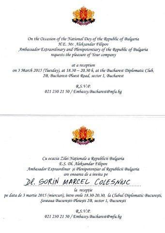 Invitatie Clubul Diplomatic