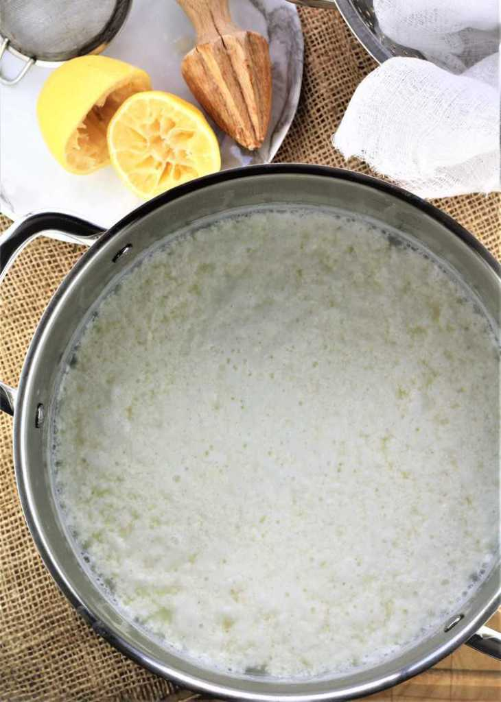 pot with ricotta curds and whey with halved juiced lemon and juicer behind it