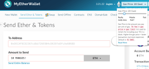Setting ether Gas Price in MyEetherumWallet