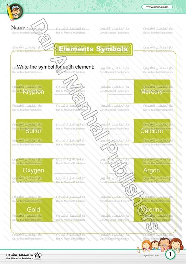 رموز العناصر 4 العلوم اوراق عمل