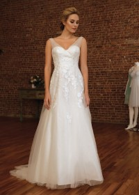 David's Bridal Glamorous V-Neck A-Line Wedding Gown