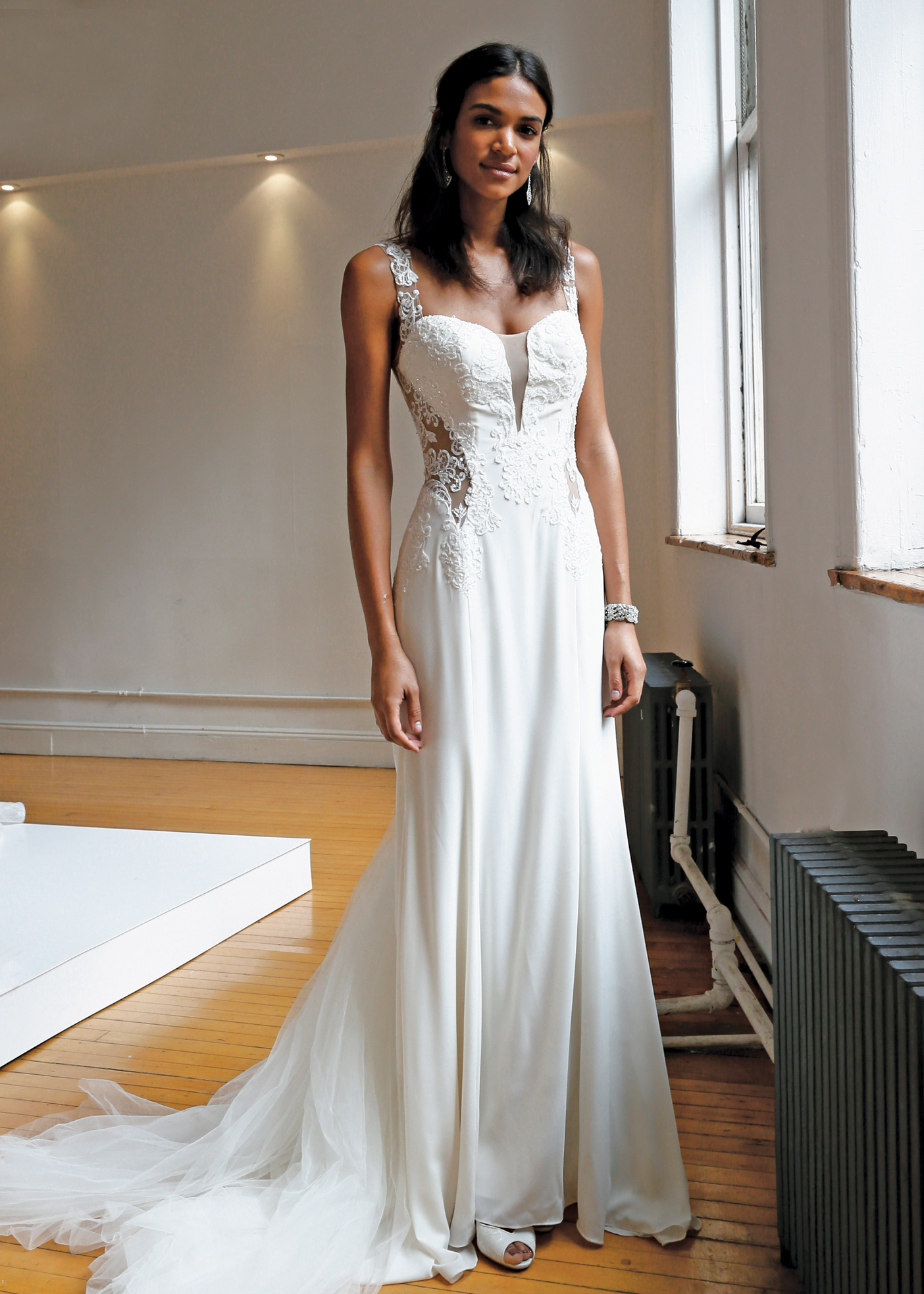 Galina Signature Spaghetti Strap FittoFlare Wedding Gown