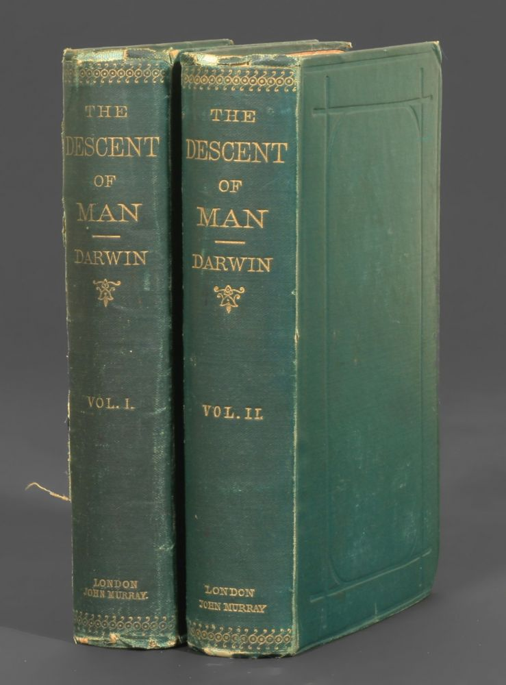 Two volumes of the first edition of Charles Darwin's Descent of Man. Photo from Manhattan Rare Books.