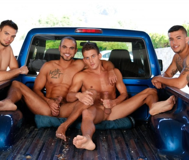 Four Play Big Gay Orgy In The Bed Of A Pick Up Truck