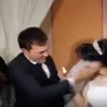 Noivo agride noiva após ela brincar com pedaço de bolo