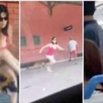 Mulher distrai seu cachorro com carícias e o abandona correndo para dentro de trem