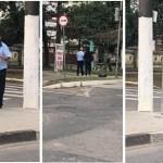 Motorista para ônibus com o objetivo de ajudar mulher cega a atravessar a rua