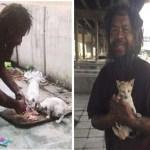 Morador de rua vende sacos de limões para comprar comida para os gatos que também vivem na rua