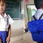 Pai não tinha dinheiro para comprar mochila nova para o filho. Então, produz uma com corda azul