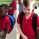 Menino consola colega autista que chorou no primeiro dia de aula
